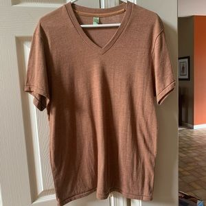 Alternative Earth Mens Size Large Brown V-Neck Tee